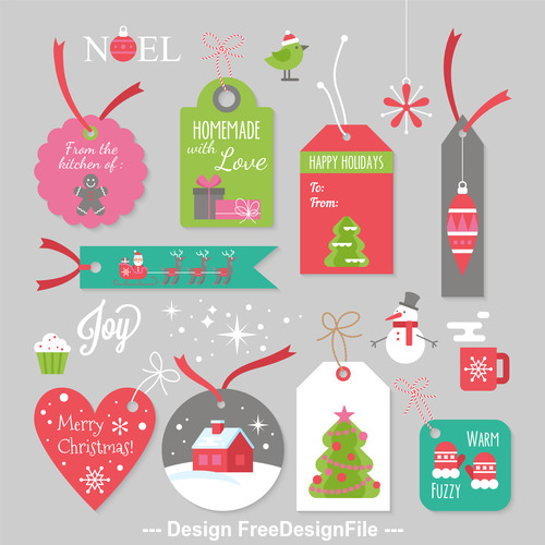 Different style design christmas label card vector