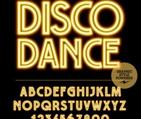 Disco dance color alphabet vector