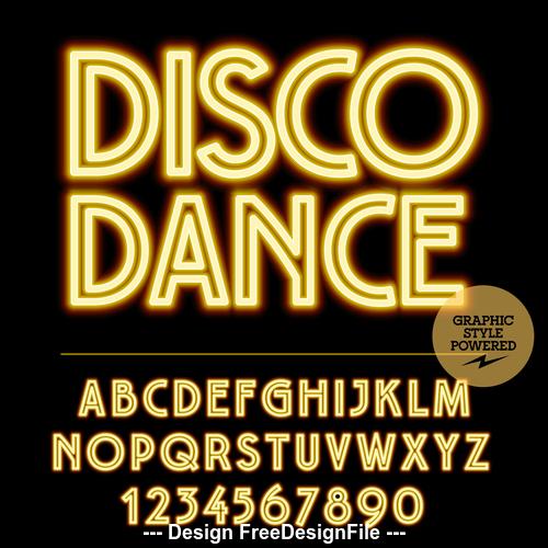 Disco dance color alphabet vector