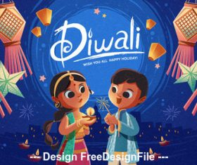 Diwali cartoon children lantern vector