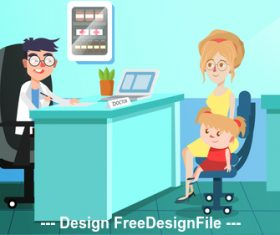 Doctor and patient cartoon Illustration vector