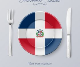 Dominica authentic cuisine and flag circ icon vector