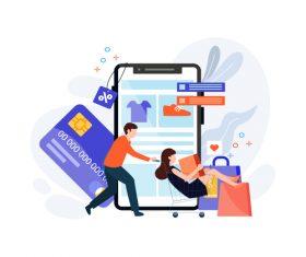 E-commerce cartoon illustration vector