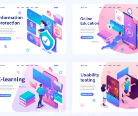 E-learning concept illustration vector