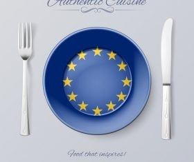 EU authentic cuisine and flag circ icon vector