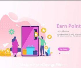 Ear earn point cartoon illustration vector