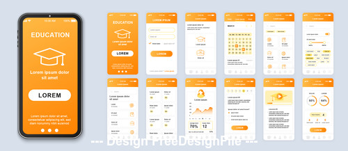 Education mobile app Ui Kit Screen vector