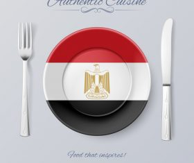 Egyptian authentic cuisine and flag circ icon vector