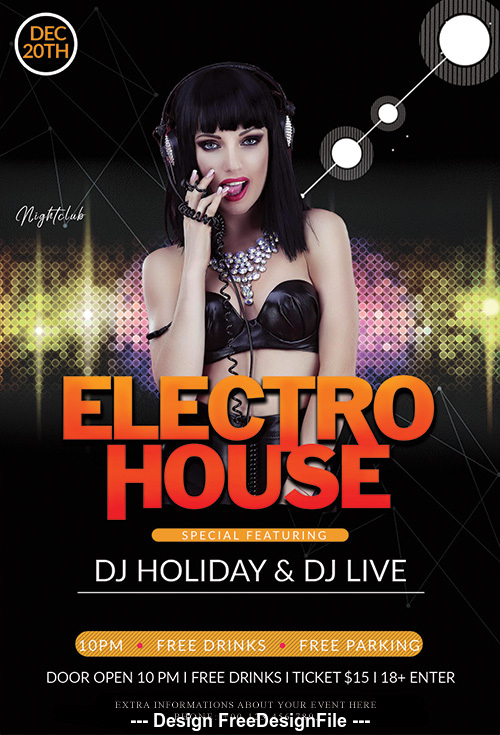 Electro House Party PSD Flyer Template