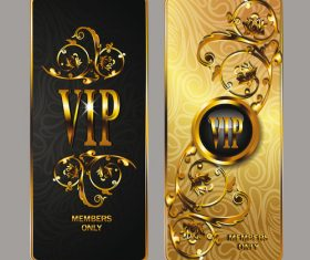 Elegant gold VIP cards with floral design elements vector