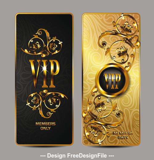 Elegant gold VIP cards with floral design elements vector