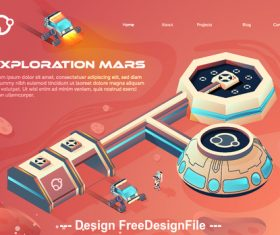Exploration Mars concept illustration vector