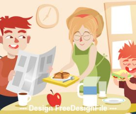 Family breakfast cartoon illustration vector