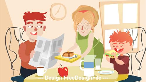 Family breakfast cartoon illustration vector