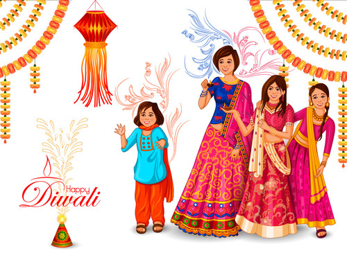 Family celebrates Diwali of India vector