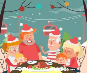 Family christmas cartoon illustration vector