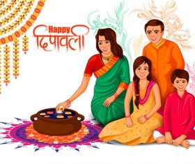 Family making Diwali food of India vector