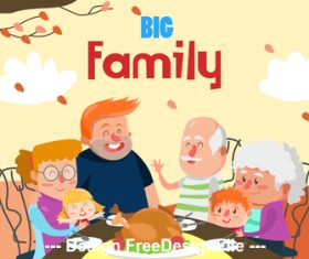 Family party cartoon illustration vector