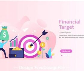 Financial target cartoon illustration vector