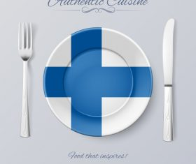 Finland authentic cuisine and flag circ icon vector