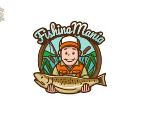 Fishing mania esport logo vector