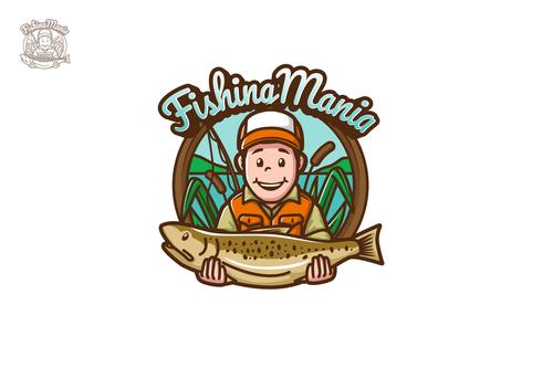 Fishing mania esport logo vector