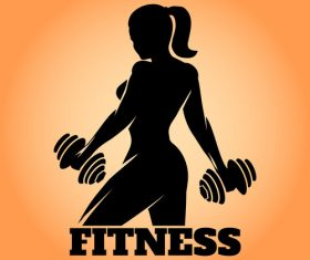 Fitness Woman silhouette vector