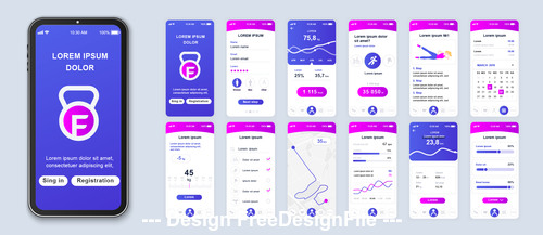 Fitness mobile app Ui Kit Screen vector