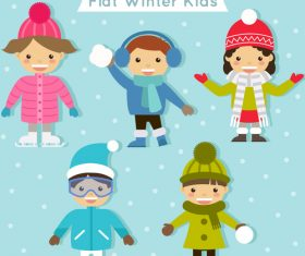 Flat winter kids vector