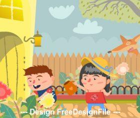 Flower garden cartoon Illustration vector