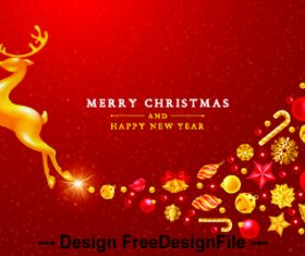 Flying golden deer christmas new year card vector