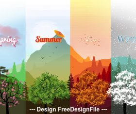 Four season banner vector