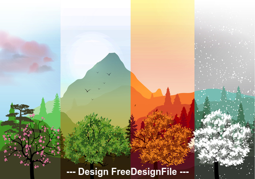Four season mountain and plant banner vector