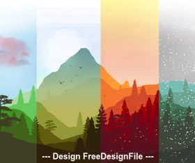 Four season mountain banner vector