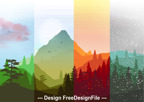 Four season mountain banner vector
