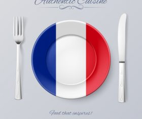 French authentic cuisine and flag circ icon vector