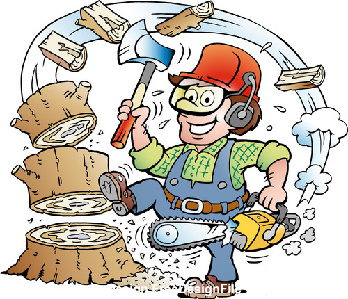 Funny forest worker cartoon vector