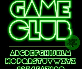 Game club color alphabet vector