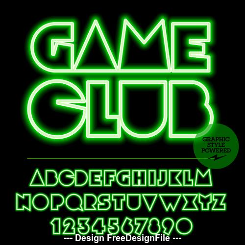 Game club color alphabet vector