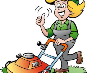 Gardener lady lawnmower vector