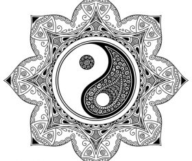 Geometry tatoo Mandala black Yin yang vector