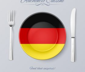 Germany authentic cuisine and flag circ icon vector
