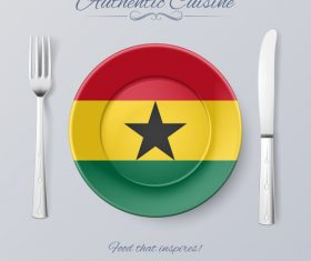 Ghana authentic cuisine and flag circ icon vector