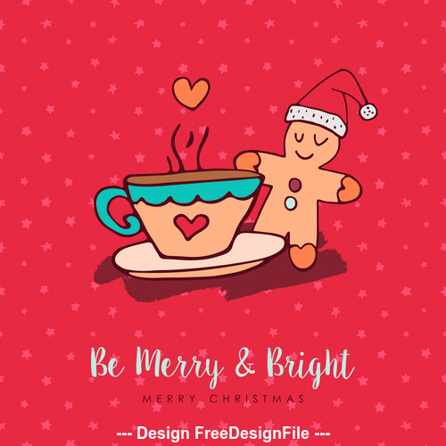 Gingerbread and coffee cartoon christmas element card vector