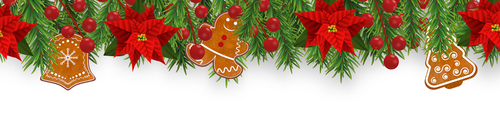 Gingerbread and holly decoration 2020 Christmas card vector
