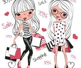 Girl shopping comics vector