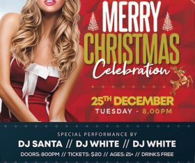 Girl with Christmas Party Flyer PSD Template