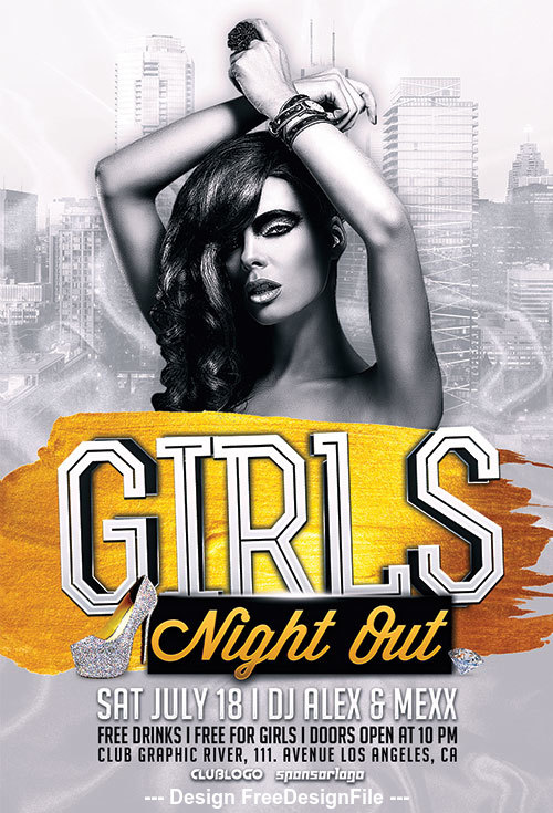 Girls Night Out Party PSD Flyer Template