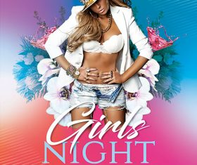 Girls Night Party Flyer with Facebook Cover PSD Template