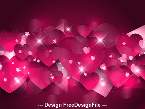 Glitter love paper cut background vector